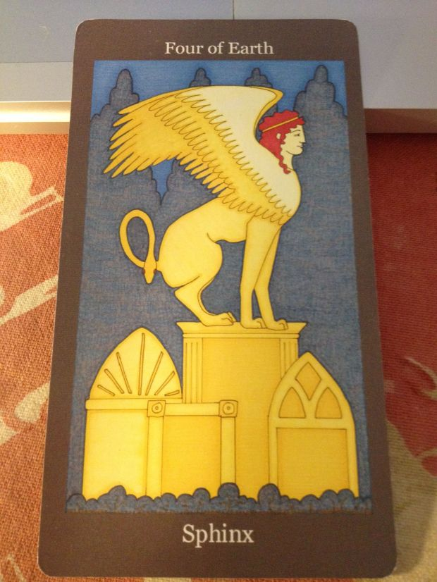 Four of Earth, the Sphinx (The Dark Goddess Tarot,  Ellen Lorenzi-Prince)